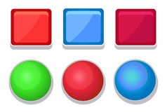 Empty Glossy Web Buttons Square and Round Shape Royalty Free Stock Image