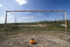 Empty goal in a field Stock Photos