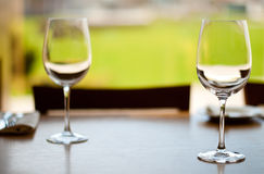 Empty goblets on table Stock Photos
