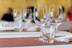 Empty goblets on table Royalty Free Stock Images