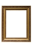 Empty gold plated wooden picture frame isolated. On white backround Royalty Free Stock Images
