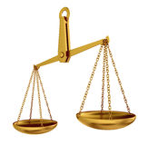 Empty gold scales Stock Images