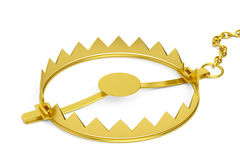 Empty golden bear trap, 3D rendering. Isolated on white background Royalty Free Stock Images