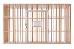 Empty golden cage, prison cell. 3D rendering Royalty Free Stock Photos