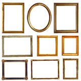 Empty golden frames. On white Royalty Free Stock Photography