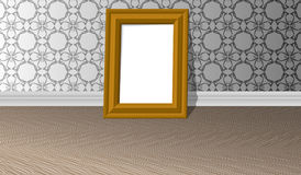 Empty golden horizontal picture frame on a white wall with patterns and parquet floor, design template royalty free illustration