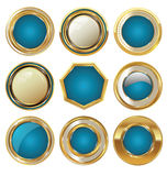 Empty golden metal badges Royalty Free Stock Image