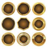 Empty golden metal badges Stock Image