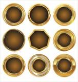 Empty golden metal badges Stock Image