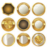 Empty golden metal badges Stock Photography