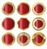 Empty golden metal badges Royalty Free Stock Photos