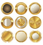 Empty golden metal badges Royalty Free Stock Photo