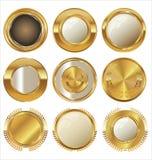 Empty golden metal badges Royalty Free Stock Photo