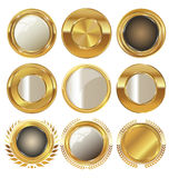 Empty golden metal badges Stock Photo