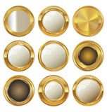 Empty golden metal badges Royalty Free Stock Photos