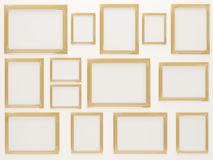 Empty Golden Photo Frames Stock Image