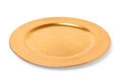 Empty golden plate Royalty Free Stock Photos