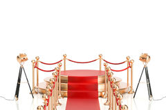Empty golden podium with red carpet and barrier rope, 3D. Empty golden podium with red carpet and barrier rope, 3D rendering isolated on white background Stock Image