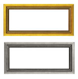Empty golden and silver picture frames isolated. On white background Stock Photos