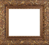 Empty golden vintage frame isolated Royalty Free Stock Photography