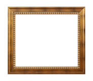 Empty golden vintage frame on white Stock Photography