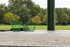 Empty Golf Ball Baskets at Driving Range Stock Photo