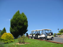 Empty golf carts. At a golf club below beautiful blue sky royalty free stock images