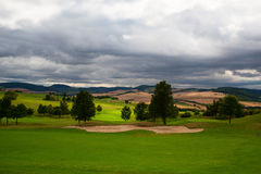 Empty golf course after rain Stock Images