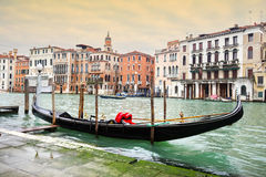 Empty gondola parked in Venice Royalty Free Stock Photos