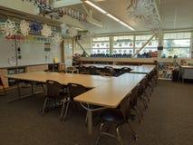 Empty grade school classroom, cleaned royalty free stock photos