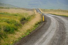 Empty gravel route in Iceland Royalty Free Stock Image