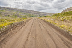 Empty gravel route to Dynjandi waterfall - Iceland Stock Images