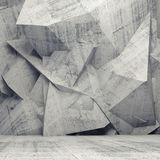 Empty gray concrete 3d interior with chaotic polygonal wall. Abstract concrete 3d interior with chaotic polygonal relief pattern on the wall Stock Photo