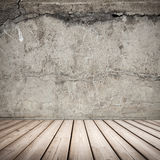 Empty gray concrete interior background. With wooden floor Stock Images
