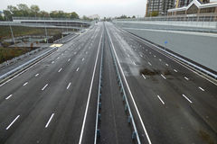 Empty gray highway, outgoing to the horizon. Soft focus. Royalty Free Stock Photography