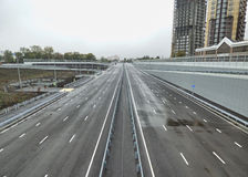 Empty gray highway, outgoing to the horizon. Soft focus. Royalty Free Stock Image