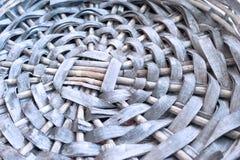 Empty Gray Wicker Basket Base, Circular Pattern, Closeup.  royalty free stock photo