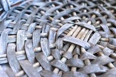 Empty Gray Wicker Basket Base, Circular Pattern, Closeup.  stock photo