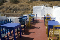 Empty greek bar. Detail of typical pub in old village of Astypalea island - Greece Stock Photos
