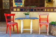 Empty greek cafe on Crete Stock Photography