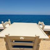 Empty greek cafe on Crete Stock Images