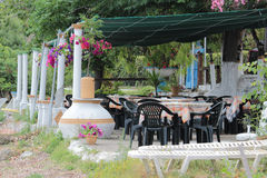 Empty Greek taverna, Corfu Stock Photo