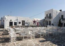 Empty greek taverna royalty free stock photography