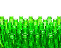 Empty green bottles , isolated Royalty Free Stock Images