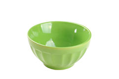 Empty green bowl, isolated on white background Royalty Free Stock Images