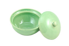 Empty green bowl with lid Stock Photo
