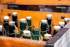 Empty green and brown vintage bottles Royalty Free Stock Photo