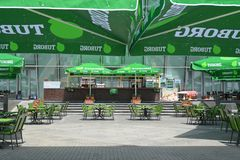 Empty green cafe waits for visitors, Baku Royalty Free Stock Photos
