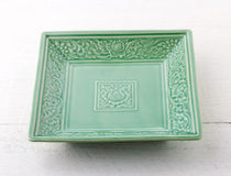 Empty green ceramic plate Stock Photography