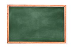 Empty green chalkboard texture hang on the white wall. double frame from green board and white background.